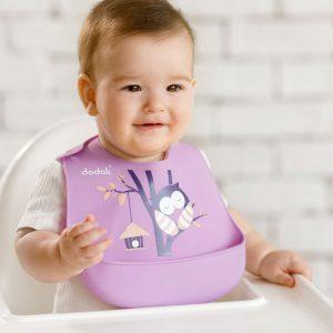baveta silicon diversificare bebe - bufnita