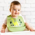 baveta-bebelusi-copii-cu-buzunar-silicon-dinozaur-verde-1