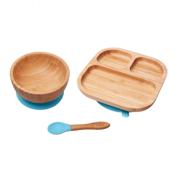 set-cadou-bebelusi-bol-farfurie-diversificare-bambus-albastru