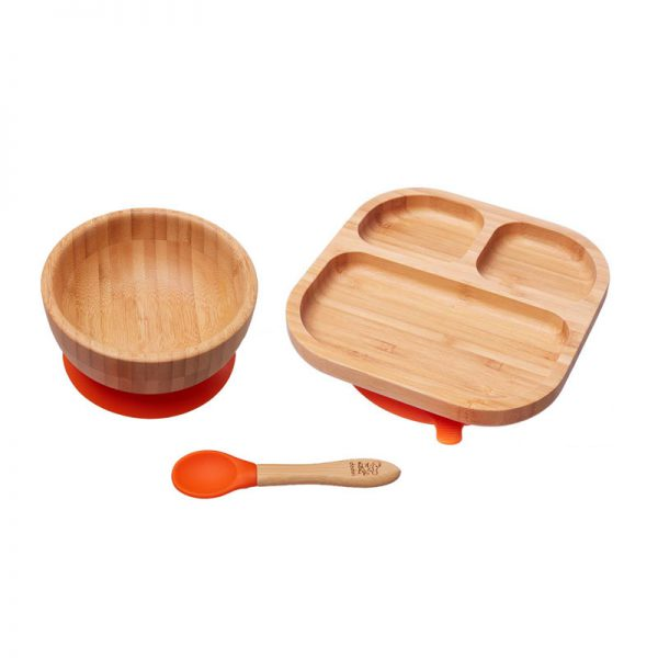 set-cadou-bebelusi-bol-farfurie-diversificare-bambus-portocaliu