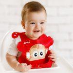 baveta-bebelusi-copii-cu-buzunar-silicon-maimuta-rosu-1