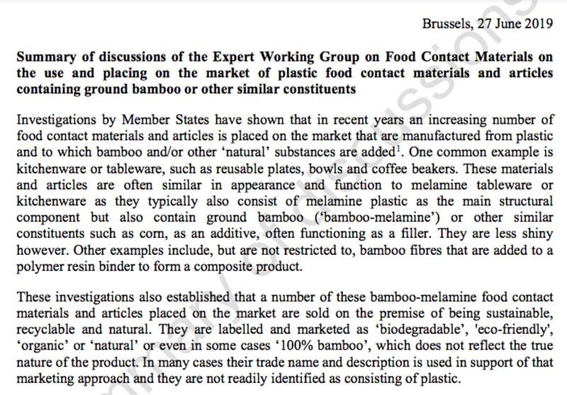 UE despre vesela din melamina cu bambus