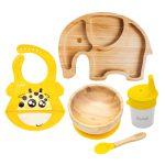Set cu bol Rotund, farfurie Elefant, bavetă și pahar cu cioc – Galben