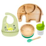 Set cu bol Rotund, farfurie Elefant, bavetă și pahar cu cioc – Verde
